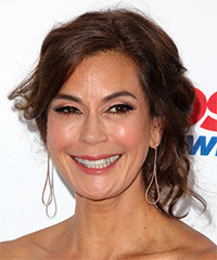 Teri Hatcher Medium Wavy Formal   Updo Hairstyle with Side Swept Bangs  - Light Chocolate Brunette Hair Color