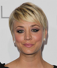Kaley Cuoco Short Straight Formal    Hairstyle   -  Golden Blonde Hair Color