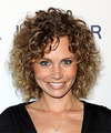 Katie Cooper Medium Curly Casual    Hairstyle   -  Brunette Hair Color