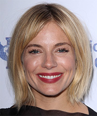 Sienna Miller Medium Straight Casual    Hairstyle   - Light Blonde Hair Color