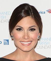 Gabriela Isler Long Straight Formal   Updo Hairstyle   -  Brunette Hair Color