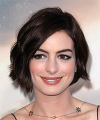 Anne Hathaway Short Straight Casual    Hairstyle with Side Swept Bangs  - Dark Chocolate Brunette Hair Color