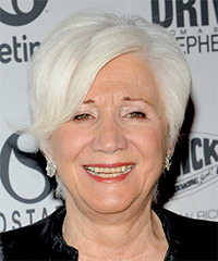 Olympia Dukakis Short Straight Formal    Hairstyle with Side Swept Bangs  - Light White Grey Hair Color