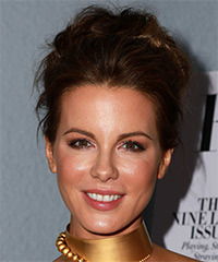 Kate Beckinsale Long Wavy Formal   Updo Hairstyle   - Dark Brunette Hair Color