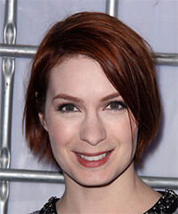Felicia Day Medium Straight Casual    Hairstyle   -  Red Hair Color