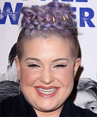 Kelly Osbourne Long Wavy Alternative  Emo Updo Hairstyle   - Purple  Hair Color