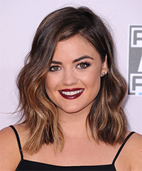 Lucy Hale Medium Wavy Casual    Hairstyle   -  Brunette Hair Color with Dark Blonde Highlights
