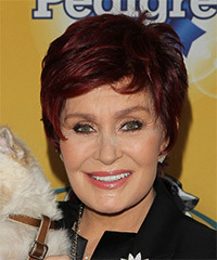 Sharon Osbourne Short Straight Casual    Hairstyle with Side Swept Bangs  - Dark Red Hair Color
