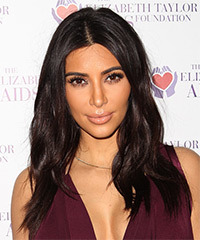 Kim Kardashian Long Straight Casual   Hairstyle   - Dark Brunette (Chocolate)