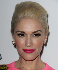 Gwen Stefani Long Straight Formal   Updo Hairstyle   - Golden Hair Color