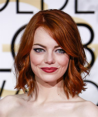 Emma Stone Medium Wavy Casual    Hairstyle   - Dark Ginger Red Hair Color