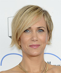 Kristen Wiig Short Straight Casual    Hairstyle with Side Swept Bangs  -  Blonde Hair Color