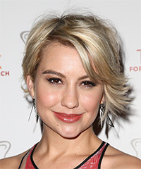 Chelsea Kane Short Straight Casual    Hairstyle with Side Swept Bangs  -  Blonde Hair Color with Light Blonde Highlights