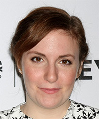 Lena Dunham Medium Straight Casual  Braided Updo Hairstyle   -  Auburn Brunette Hair Color
