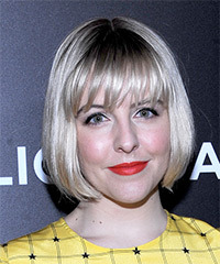 Helene Yorke Short Straight Casual  Bob  Hairstyle with Blunt Cut Bangs  - Light Platinum Blonde Hair Color