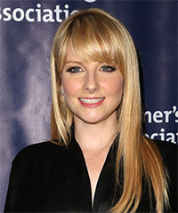 Melissa Rauch Long Straight Casual    Hairstyle with Side Swept Bangs  -  Golden Blonde Hair Color