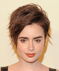 Lily Collins Short Straight Casual    Hairstyle with Side Swept Bangs  -  Brunette Hair Color