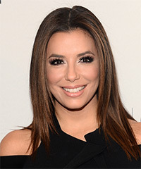 Eva Longoria Long Straight Casual    Hairstyle   - Dark Brunette Hair Color