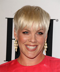 Pink Short Straight Casual Layered Pixie  Hairstyle with Layered Bangs  - Light Golden Blonde Hair Color