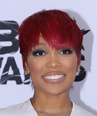 Monica Brown Short Straight Casual Layered Pixie  Hairstyle with Razor Cut Bangs  -  Bright Red Hair Color