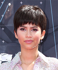 Zendaya Coleman Short Straight Casual Layered Pixie  Hairstyle with Razor Cut Bangs  -  Chocolate Brunette Hair Color
