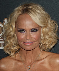 Kristin Chenoweth Medium Curly Formal    Hairstyle with Side Swept Bangs  -  Golden Blonde Hair Color