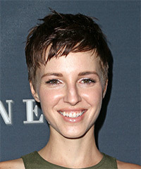 Emma Fitzpatrick Short Straight Casual Layered Pixie  Hairstyle   - Dark Brunette Hair Color