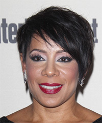 Selenis Leyva Short Straight Casual    Hairstyle with Side Swept Bangs  - Black  Hair Color