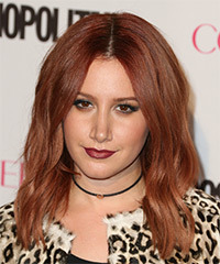 Ashley Tisdale Long Wavy Casual    Hairstyle   -  Auburn Red Hair Color