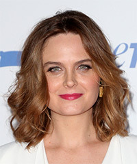 Emily Deschanel Medium Wavy Casual    Hairstyle   -  Auburn Brunette Hair Color