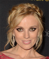 Bar Paly Long Straight Casual  Braided Updo Hairstyle