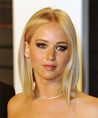 Jennifer Lawrence Medium Straight Casual  Bob  Hairstyle   - Light Champagne Blonde Hair Color