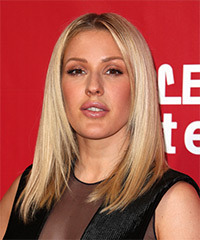 Ellie Goulding Long Straight   Light Platinum Blonde Bob  Haircut