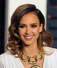 Jessica Alba Medium Wavy Formal    Hairstyle   -  Caramel Brunette Hair Color with Light Brunette Highlights