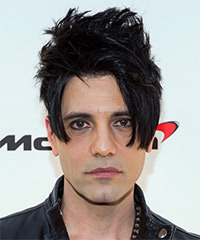 Criss Angel Short Wavy Casual   Hairstyle with Asymmetrical Bangs  - Black