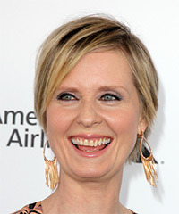 Cynthia Nixon Short Straight Casual Layered Bob  Hairstyle with Side Swept Bangs  -  Honey Blonde Hair Color with Light Blonde Highlights