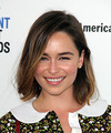 Emilia Clarke Medium Straight   Dark Brunette Bob  Haircut with Side Swept Bangs  and Light Brunette Highlights