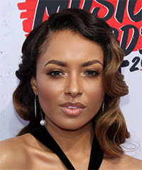 Kat Graham Medium Wavy Formal    Hairstyle   - Black  and Light Brunette Two-Tone Hair Color