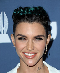 Ruby Rose Short Straight Casual  Braided  Hairstyle   - Black  and Green Two-Tone Hair Color