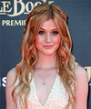 Katherine McNamara Long Wavy Formal   Updo Hairstyle   - Light Copper Red Hair Color with Light Blonde Highlights