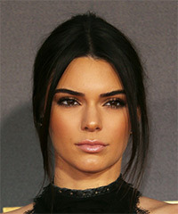 Kendall Jenner  Long Straight Casual   Updo Hairstyle   - Black  Hair Color