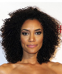Annie Ilonzeh Medium Curly Casual  Afro  Hairstyle   - Black  Hair Color