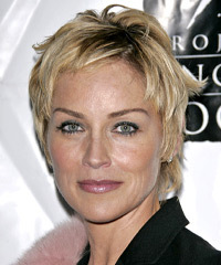 Sharon Stone Short Straight Casual    Hairstyle