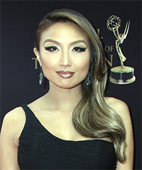 Jeannie Mai Long Straight Formal   Updo Hairstyle   - Dark Brunette Hair Color with  Blonde Highlights