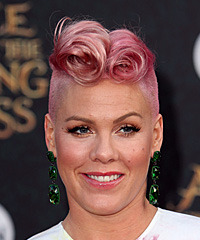 Pink Short Curly Alternative  Mohawk  Hairstyle   - Pink  Hair Color