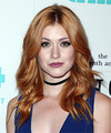 Katherine McNamara Long Wavy Formal    Hairstyle   - Light Red Hair Color