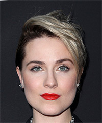 Evan Rachel Wood Short Straight Alternative  Pixie  Hairstyle with Side Swept Bangs  - Dark Brunette and Light Blonde Two-Tone Hair Color