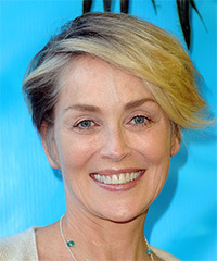 Sharon Stone Short Straight Casual  Asymmetrical  Hairstyle with Side Swept Bangs  - Light Blonde Hair Color
