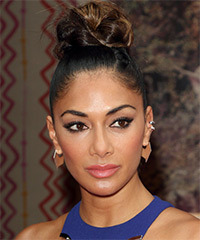 Nicole Scherzinger Long Straight Formal   Updo Hairstyle   - Black  Hair Color