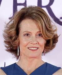 Sigourney Weaver Medium Wavy Casual  Bob  Hairstyle with Side Swept Bangs  - Light Brunette Hair Color